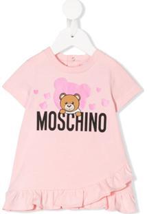 Moschino Kids Vestido Reto Com Estampa De Logo - Rosa