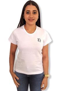 Camiseta Lobo Basic Feminina Branca Multicolorido