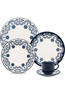 Aparelho De Jantar 30 Peças Floreal Energy - Oxford - Branco / Azul
