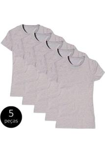 Kit Com 5 Camiseta Baby Look Básica Part.B Gola Redonda Feminina - Feminino-Cinza