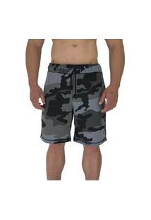 Bermuda Masculina Alto Conceito Moletom Camuflado Cinza Escuro Urbano