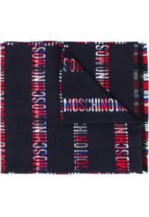 Moschino Cachecol De Lã Com Estampa De Logo - Azul