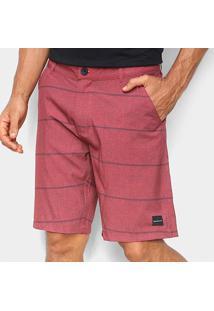 Bermuda Oakley Listrada Dumper Masculina - Masculino-Vermelho Escuro