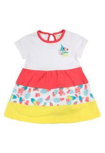 Vestido Manga Curta Em Cotton - Branco - Minnie - Jardim Tropical - Disney