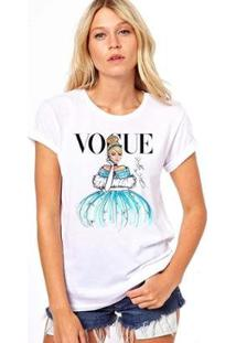 Camiseta Cinderela Vogue Feminina - Feminino-Branco