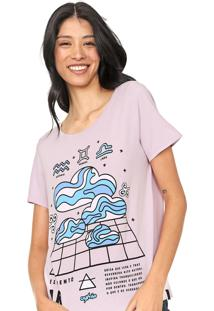 Camiseta Cantã£O Ar Lilã¡S - Lilã¡S - Feminino - Algodã£O - Dafiti