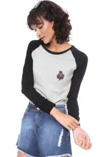 Camiseta Rusty Rose Cinza/Preta