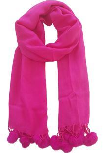 Cachecol Bag Dreams Liso Pom Pom Pink