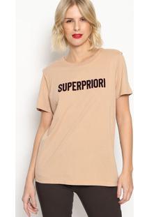 """Camiseta """"Superpriori""""- Bege & Bordã´- Forumforum"""