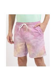 Bermuda De Sarja Masculina Estampada Tie Dye Com Bolsos E Cordão Multicor