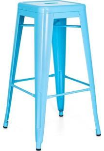 Banqueta Alta Iron Tolix - Industrial - Aço - Vintage - Azul