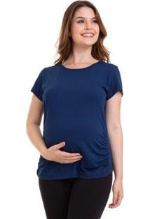 Camiseta Gestante Manga Curta Conforto Luna Cuore Feminina - Feminino-Marinho