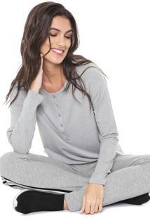 Camiseta Liz Easywear Botãµes Cinza - Cinza - Feminino - Viscose - Dafiti