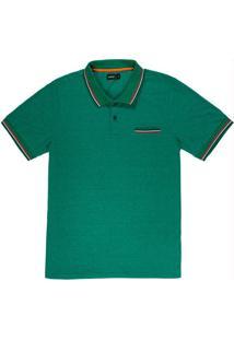 Camiseta Polo Com Retilínea Verde