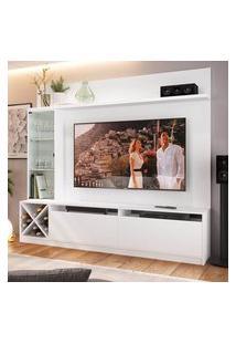 """Rack Com Painel Tv 60"""" 1 Porta Vidro Branco Lilies Móveis"""