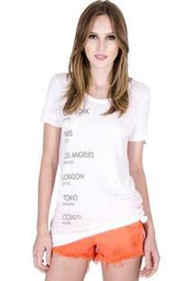 Camiseta Colcci Ullet Viscose Feminina - Feminino-Off White