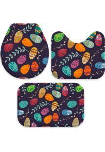 Jogo Tapete Love Decors Para Banheiro Ovos De Páscoa Multicolorido Único