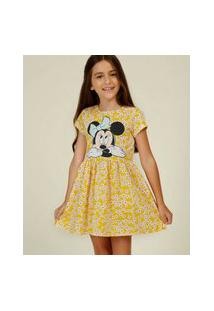 Vestido Infantil Estampa Floral Minnie Disney Tam 4 A 10