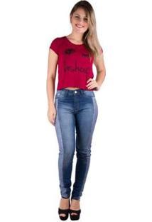 Camiseta Banna Hanna Estampada Feminina - Feminino-Bordô