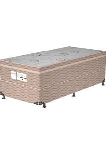 Cama Box Solteiro Essential – Probel - Branco / Marrom / Camurça