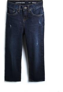 Calça Jeans Calvin Klein Kids Menino Lisa Azul-Marinho