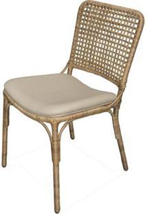 Cadeira Toledo Assento Cor Fendi Com Base Aluminio Revestido Em Junco - 44734 - Sun House
