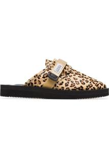 Suicoke Leopard Print Sheep Skin And Calf Hair Slippers - Neutro