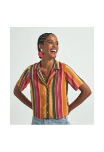 Camisa Curta Estampa Listras Verticais | Blue Steel | Multicores | Pp