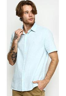 Camisa Vr Blend Linho Lisa Masculina - Masculino-Azul Claro
