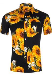 Camisa Floral Masculina - Preto P