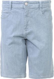 Bermuda Jeans Coca-Cola Jeans Reta Pespontos Azul