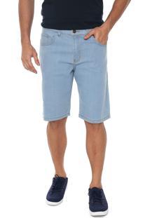 Bermuda Jeans Polo Wear Reta Pespontos Azul