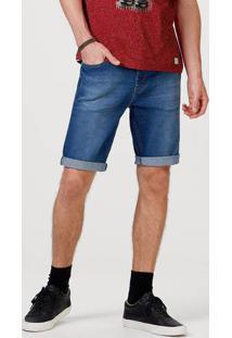 Bermuda Jeans Masculina Slim Com Elastano
