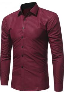 Camisa Masculina Slim Manga Longa - Vinho Pp