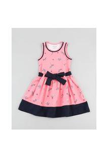 Vestido Infantil Estampado Floral Com Faixa Para Amarrar Sem Manga Rosa