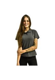 Camiseta Rich Young Pólo Básica Lisa Manga Curta Cinza