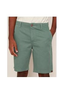 Bermuda De Sarja Masculina Reta Com Bolsos Verde