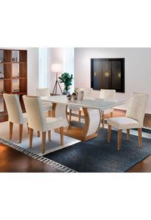 Conjunto De Mesa Com 6 Cadeiras Jade-Rufato - Veludo Creme / Off White / Imbuia