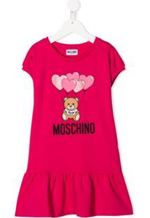 Moschino Kids Vestido Com Logo - Rosa