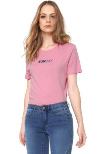 Camiseta Only Sunday Rosa