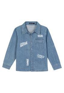 Camisa Jeans Claro Infantil Menino Estampado
