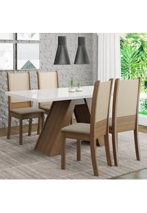 Conjunto Sala De Jantar Madesa Dafne Mesa Tampo De Vidro Com 4 Cadeiras - Rustic/Branco/Crema/Bege Marrom - Marrom - Dafiti