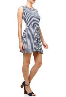 Vestido Curto Feminino Azul Marinho/Branco