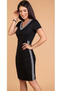 Vestido Moda Evangélica Preto Com Faixa
