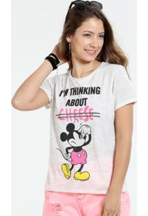 Blusa Feminina Mickey E Frase Manga Curta Disney