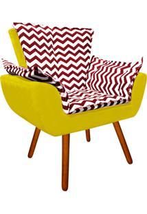 Poltrona Decorativa Opala Suede Composê Estampado Zig Zag Vermelho D79 E Suede Amarelo - D'Rossi