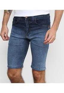 Bermuda Jeans Hd Slim Masculina - Masculino-Azul+Preto