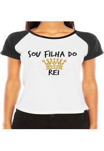 Camiseta Criativa Urbana Raglan Filha De Deus - Feminino-Branco