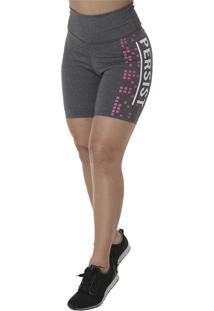 Bermuda Click Mais Bonita Fitness Silk Persist Cinza
