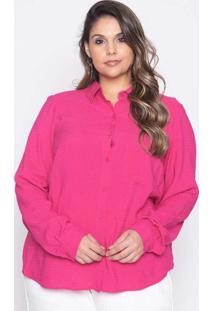 Camisa Almaria Plus Size Pianeta Viscose Maquineta